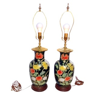 1930's Samuel L Dinklespiel Chrysanthemum Table Lamps - Pair