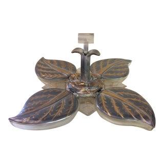 Vintage A. Karoff Originals Silver & Gold Lucite 4 Leaf Nut Server