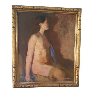 H. Shomeax Antique Nude Oil Painting