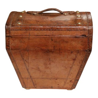 18th Century French Leather Travel Hat Box with 2 Hats & Storybook of Owner's