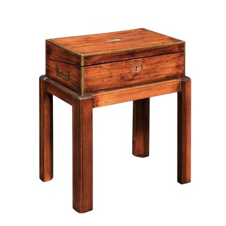 English Campaign Mahogany Lap Desk Decorative Box on Custom Stand, circa 1860