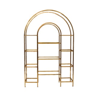 Vintage Arched Brass & Glass Etagere