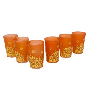 Moroccan Luxury Ifrane Gold & Orange Tea Glasses - Set of 6