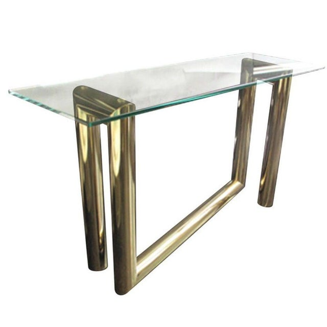 Karl Springer Attributed Brass Z-Console Table - Image 1 of 2