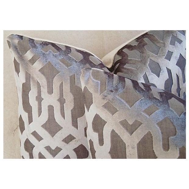 Designer Gray Geometric Trellis Pillows - A Pair - Image 4 of 8