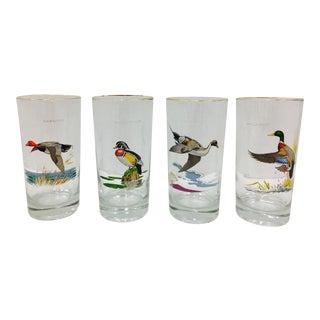 Vintage Hunting Bird Cocktail Glasses - Set of 4