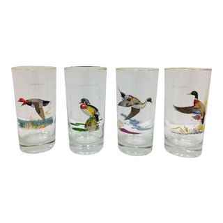 Vintage Hunting Bird Cocktail Glasses - Set of 4