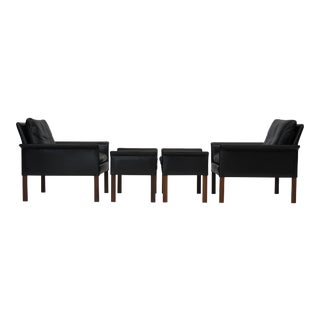 Hans Olsen Mid-Century Leather and Rosewood Lounge Chairs