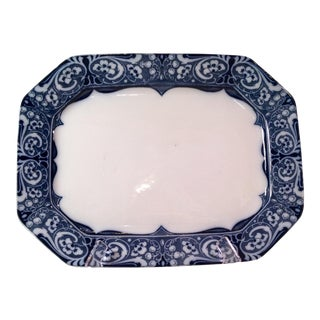 Antique English Flow Blue and White Platter