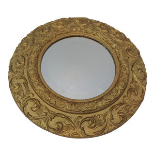 Vintage Gold Gilt Carved Wood Round Mirror