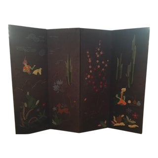 Vintage Hand Embroidered 4 Panel Folding Screen