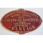 Image of Vintage French 1975 Chateau-Gontier Award Plaque