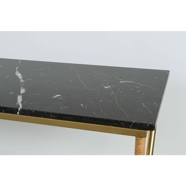 Customizable Paul Marra Brass and Raffia Console with Marble Top - Image 6 of 8