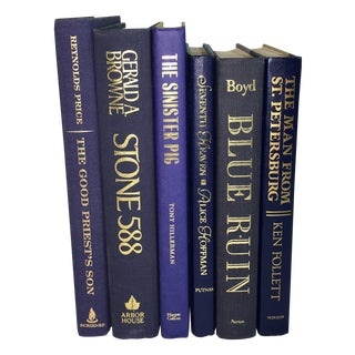 Modern Display Books in Blues - Set of 6