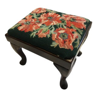 Embroidered Top Mahogany Footstool