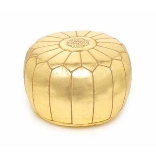 Gold Metallic Handmade Moroccan Leather Pouf