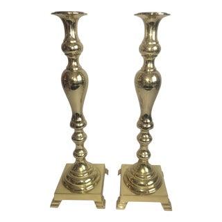 Antique Brass Tall Candlesticks - A Pair