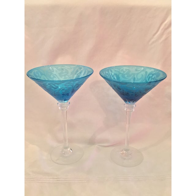 Image of Michael Weems Crystal Blue Martini Glasses - Pair