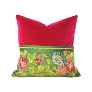 Antique French Silk & Velvet Pillow