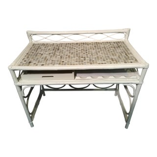 Vintage White Rattan Glass Tile Top Dry Bar