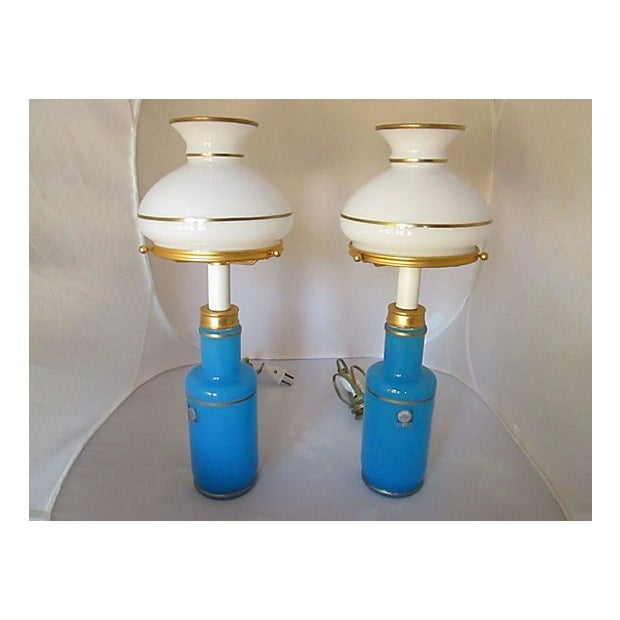 Image of Italian Turquoise Cendelese Lamps - A Pair