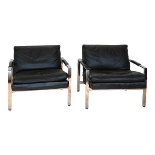 Pair of Black Leather Lounge Chairs by Milo Baughman