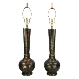 Syrian-Style Black Enamel & Brass Lamps - A Pair
