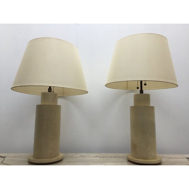 Karl Springer Goat Skin Parchment Lamps - Pair - Image 2 of 3