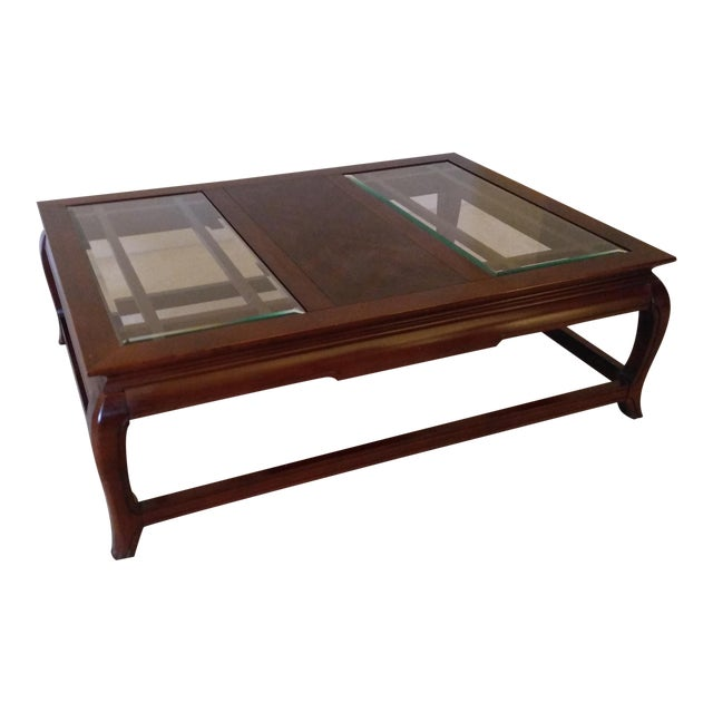 Hardwood removable glass panels coffee table chairish for Coffee table with removable glass top