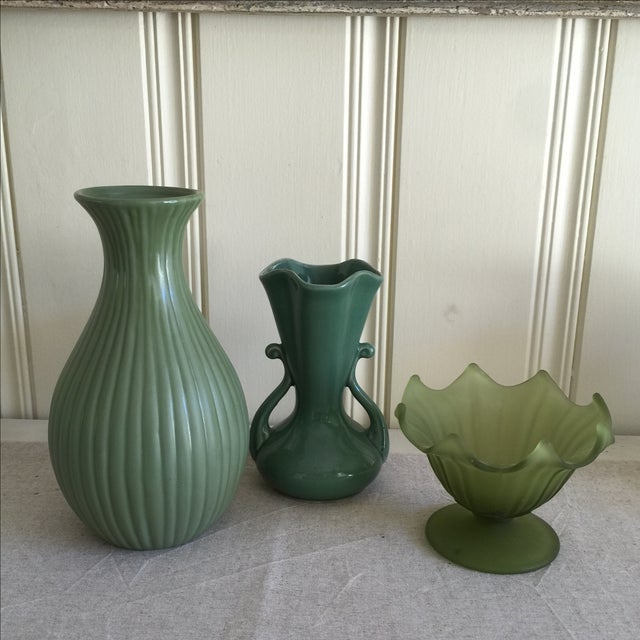 Green Ceramic & Frosted Glass Vases - Set of 3 - Image 9 of 11