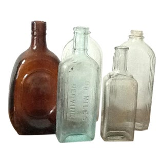Antique Vintage New Bottles Apothecary Condiment - Set of 5
