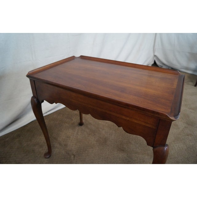 Statton Solid Cherry Queen Anne Style Tea Table - Image 10 of 10