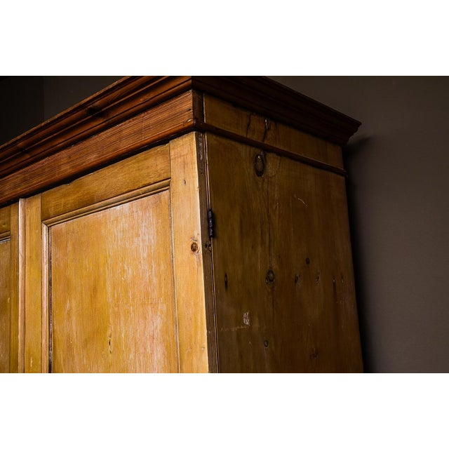Antique Scrubbed Pine Linen Press Cabinet - Image 5 of 10