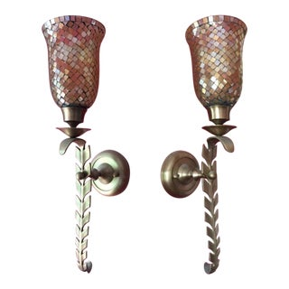 Champagne Iridescent Glass Mosaic Wall Sconces - a Pair