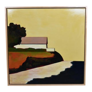"""Mid Century Modern Abstract Signed Framed """"Grandfather's Barn"""" Oil Painting"""