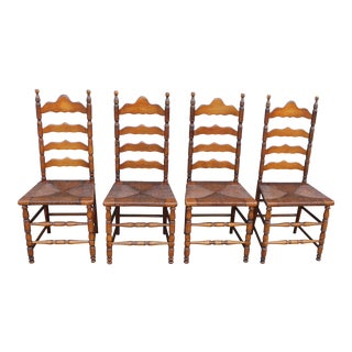 Early American Rush Side Chairs - Set of 4