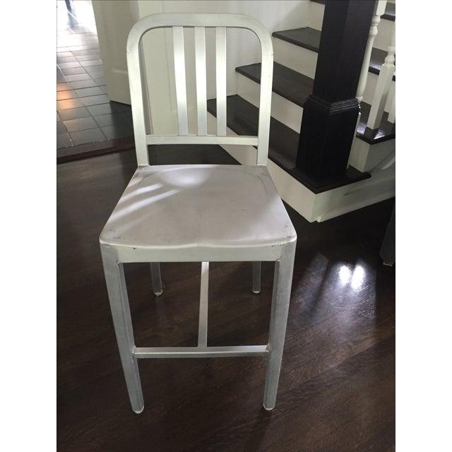 Image of Modern Navy Style Brushed Aluminum Barstools -Pair