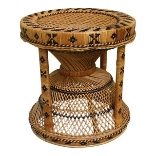 Vintage 1970s Boho Chic Rattan & Cane Side Table/Stool