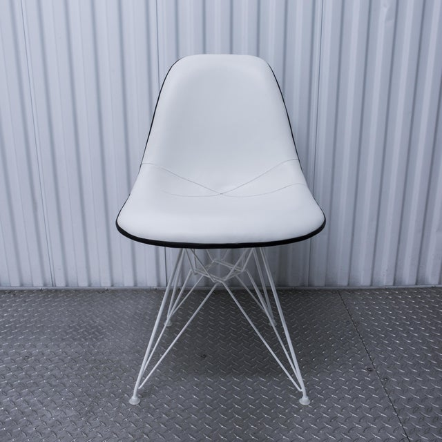 white leather eames side chair chairish