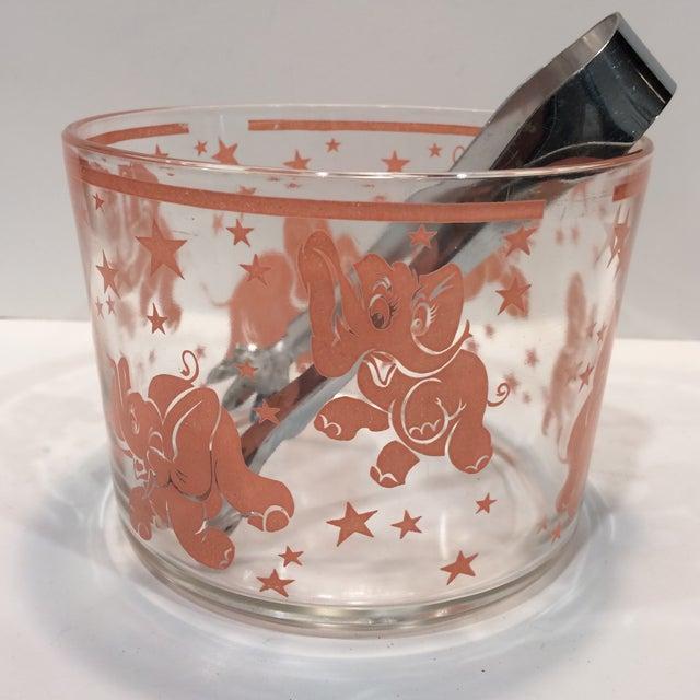 Vintage Hazel-Atlas Glass Pink Elephant Ice Bucket & Tongs - Image 3 of 11