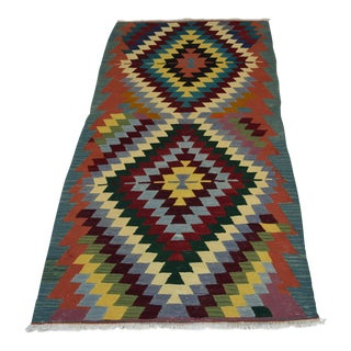 Turkish Pyramid Designed Handwoven Kilim Rug - 3′ × 5′11″
