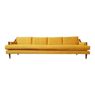 Mid-Century Vintage Gold Velvet Sofa