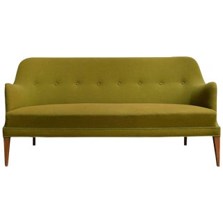 Mid-Century Scandinavian Modern Green Tweed Sofa in the Style of Carl Malmsten