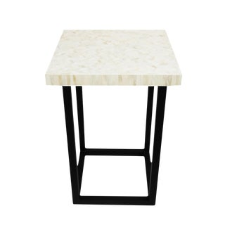 White Herringbone Inlay Side Table
