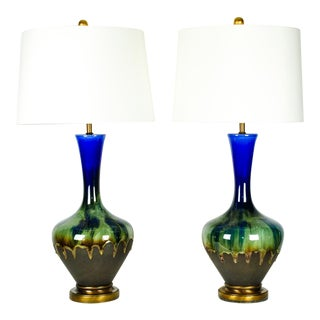 Vintage Porcelain Brass Base Table Lamps - A Pair