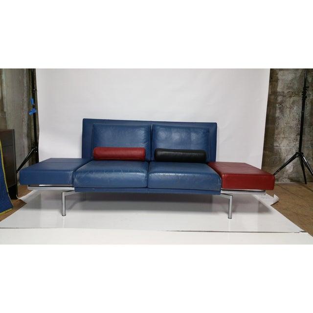 Vintage 1980s Italian Blue Leather Sofa - Image 6 of 10