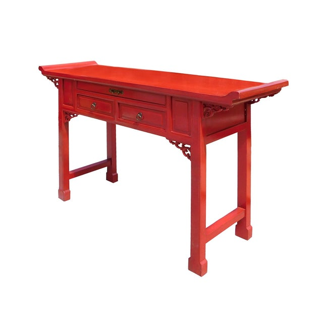 Image of Chinese Red Lacquer Altar Console Table