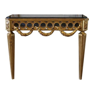 20th Century Neoclassical Giltwood Wall Console Table With Marble Top