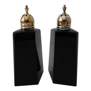 Vintage Japanese Hexagonal Black Glass Salt & Pepper Shakers