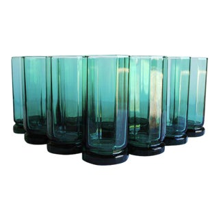 Vintage Green Collins Glasses, Set of 10